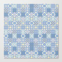 Blue Floor Tile Mashup Canvas Print
