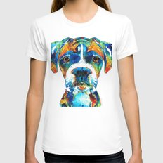 Colorful Boxer Dog Art B… Womens Fitted Tee White SMALL