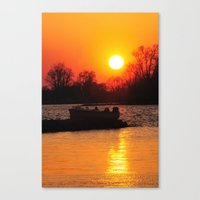 Silhouettes And Fire Canvas Print