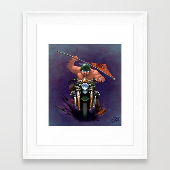 Bear Biker Framed Art Print