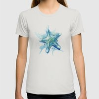 Starfish Waters II Womens Fitted Tee Silver SMALL