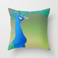 Peacock;Dark Throw Pillow