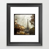 The Carousel and the Eiffel Tower - Paris Framed Art Print