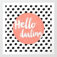 Hello Darling - Coral Art Print