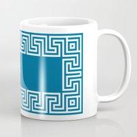 Greek Key Blue Mug