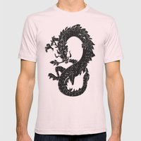 Black Oriental Dragon on Silver Mens Fitted Tee Light Pink SMALL