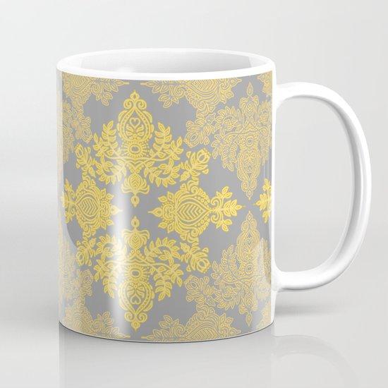 Golden Folk - doodle pattern in yellow & grey Mug