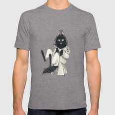 DOMESTIC WEREWOLF Mens Fitted Tee Tri-Grey SMALL