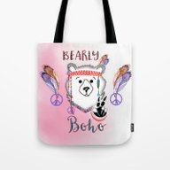 Bearly Boho Polar Bear H… Tote Bag