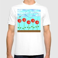 Sunflowers And Bee Mens Fitted Tee White SMALL
