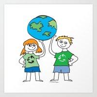 Recycle Message Kids Art Print