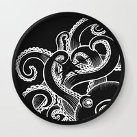 Octopus - Black And Whit… Wall Clock