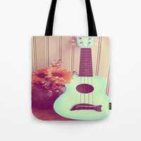 Blue Ukulele Tote Bag