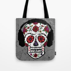 Sugar Skull with headphones Tote Bag