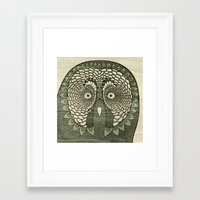 Framed Art Print featuring Owlustrations 3 by Colin Spence Design
