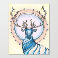 Blue Stag Canvas Print