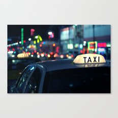 Taxi Night Hollywood Lightstorm Canvas Print