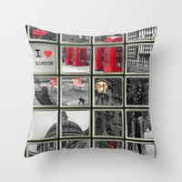 I love London Collage Throw Pillow