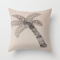 Zentangle Palm Tree Throw Pillow