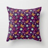 Flower Burst [Aubergine] Throw Pillow