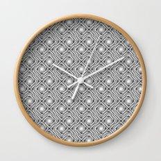 Black and White Broken Diamond Swirl Pattern Wall Clock