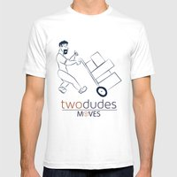 Two Dudes Moves Mens Fitted Tee White SMALL
