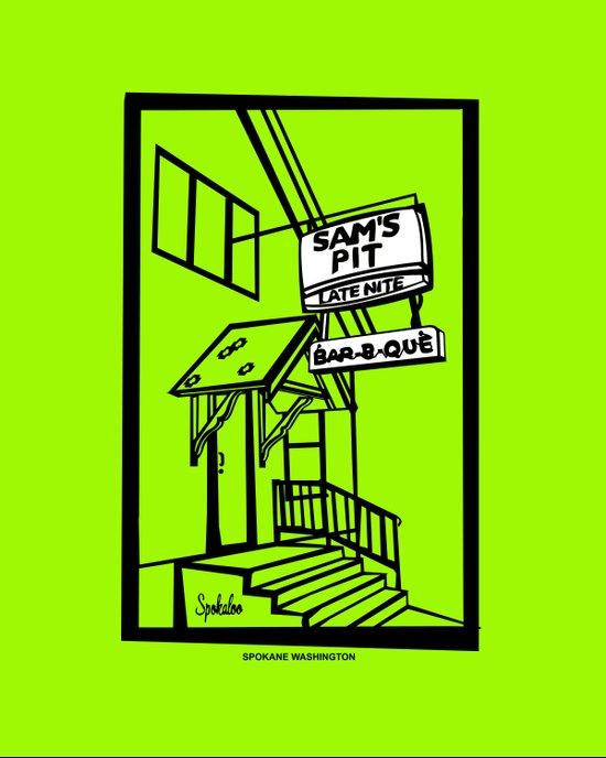 Sam's Pit Late Nite Bar B Que, Spokane, WA Art Print