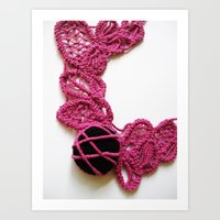 Black Pink Romanian Point Lace Photography Art Print