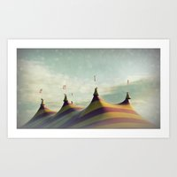 Red and Yellow Striped Six Horned Beast Rising Art Print