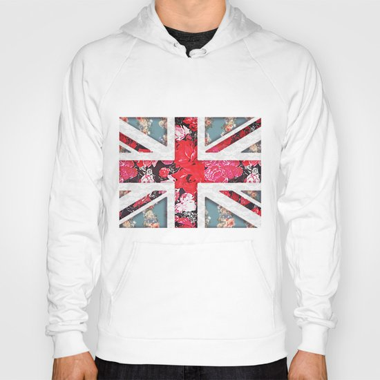 God save the Queen | Elegant girly red floral & lace Union Jack  Hoody