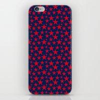 Red stars on bold blue background illustration iPhone & iPod Skin
