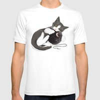 Kitten and Death Star Ball of Yarn Mens Fitted Tee White SMALL