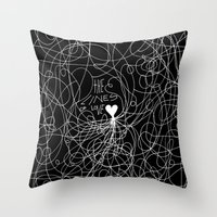 The lines of Love - Black version. Throw Pillow