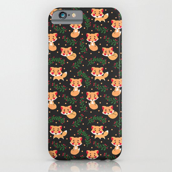 The Fox Pattern Watercolor Illustration on iPhone Skin by Haidi Shabrina