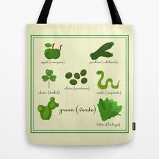 Colors: green (Los colores: verde) Tote Bag
