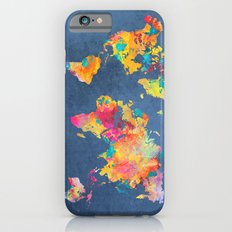 world map blue 2061 iPhone 6 Slim Case