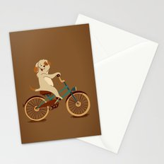 Puppy on the bike Stationery Cards