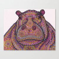 Hippie-Potamus (Pink) Canvas Print