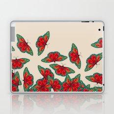 Ruby & Emerald Butterfly Dance - red, teal & green butterflies on cream Laptop & iPad Skin
