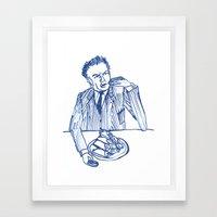 Fellini eating cannoli Framed Art Print