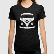 Volkswagen Split Bus - V… Womens Fitted Tee Tri-Black LARGE