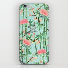 Bamboo, Birds and Blossom - soft blue green iPhone & iPod Skin