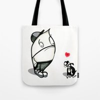 pouty face loves his dog Tote Bag
