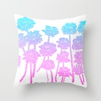 Gradient Roses Throw Pillow