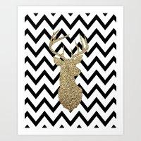 Glitter Deer Silhouette with Chevron Art Print