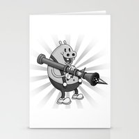 Retro Cartoon Hippo Stationery Cards