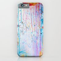 iPhone & iPod Case featuring HAPPY TEARS Bright Cheerful Abstract Acrylic Painting, Drip Splat Bold Pink Red Purple Spring Art by EbiEmporium