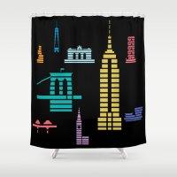New York Skyline Black Shower Curtain