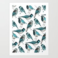 Pale Green Birds Art Print