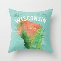 Wisconsin Map Throw Pillow